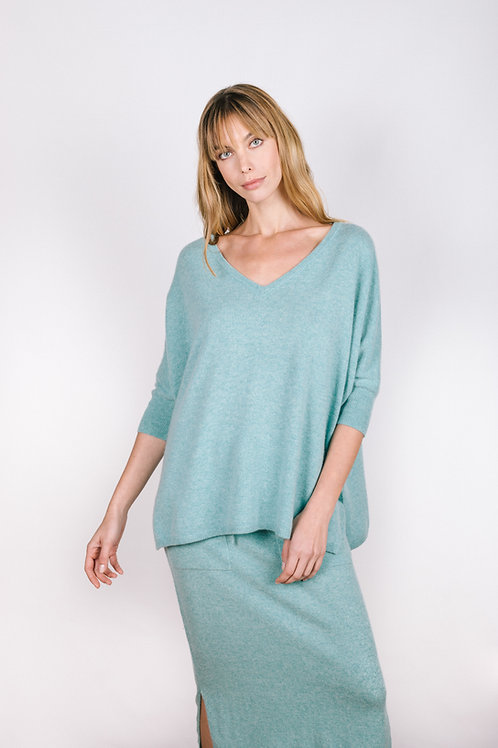 Half Sleeve Relaxed Sweater - Cashmere