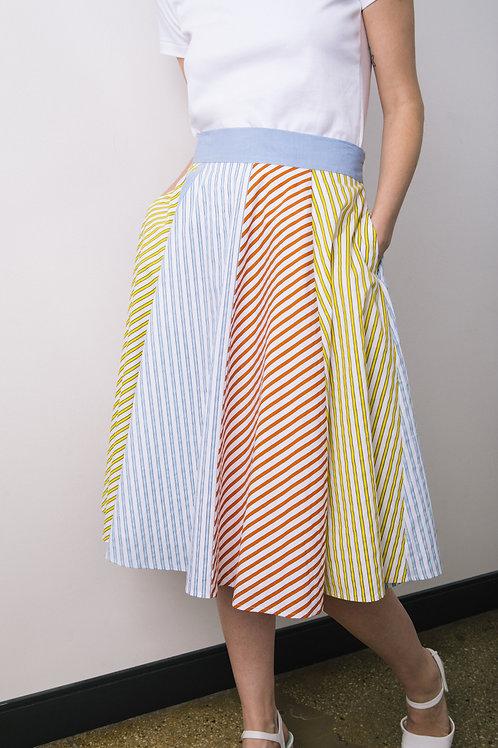 Multi-mix stripey full skirt