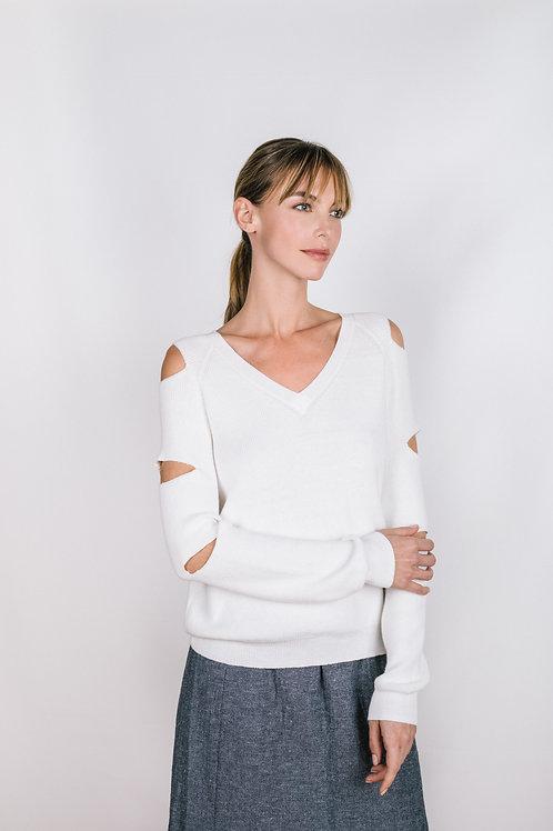 Cutout Ribbed Pullover