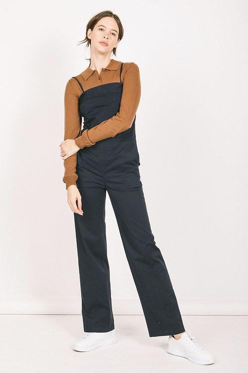 Cotton twill bustier jumpsuit
