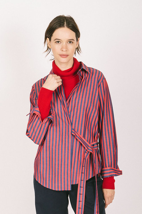 Stripey wrap shirt