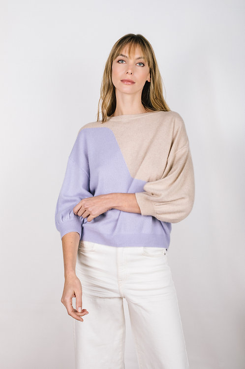 Half Sleeve Colorblock Sweater