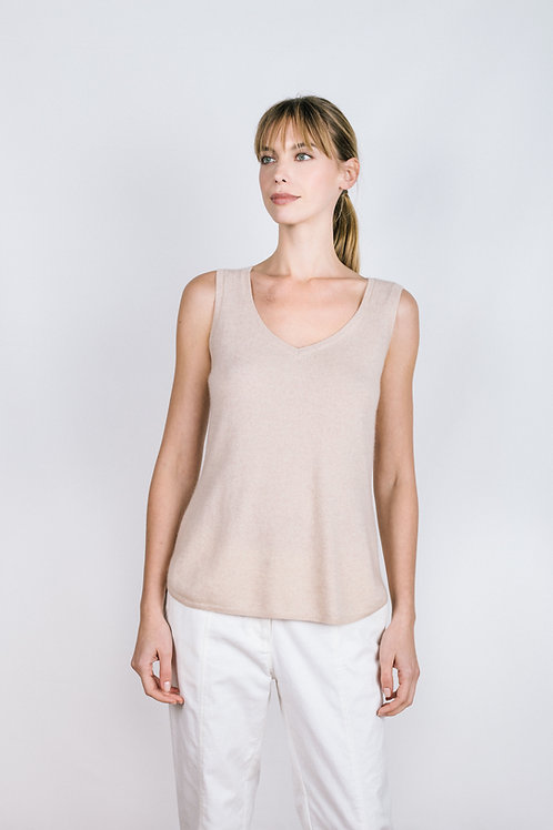 Scoop Neck Tank - Cashmere