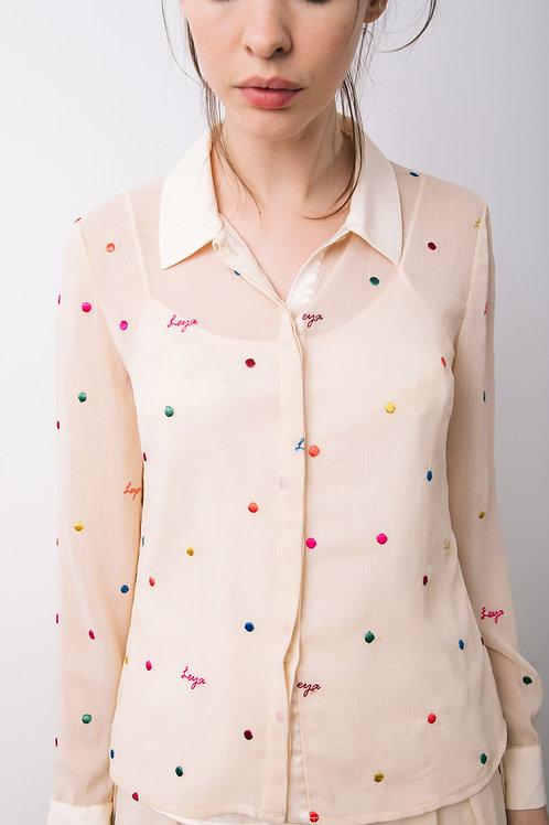 Polka logo chiffon blouse