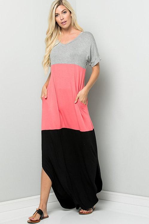 Grey/Coral/Black Block Maxi Dress