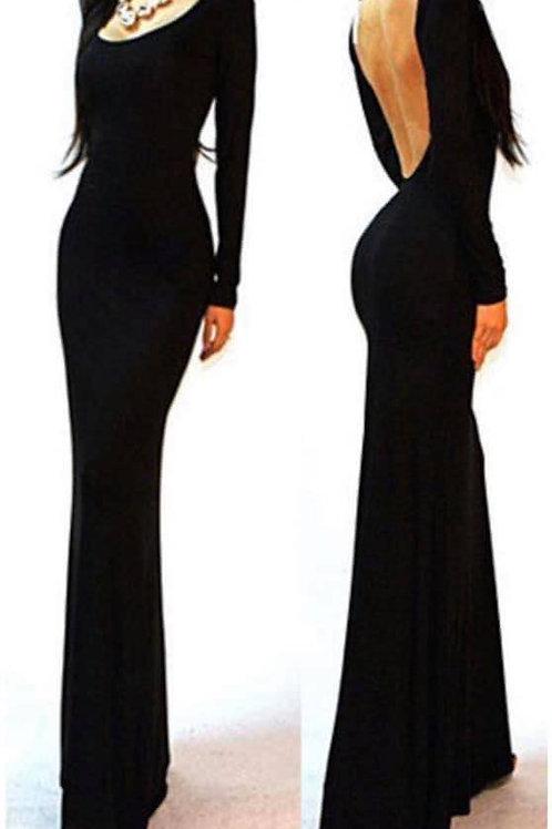 Black Long Open Back Dress
