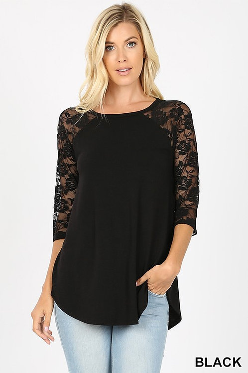 Black Lace 3/4 Sleeve Top