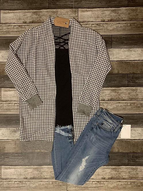 Grey & Black Cardigan