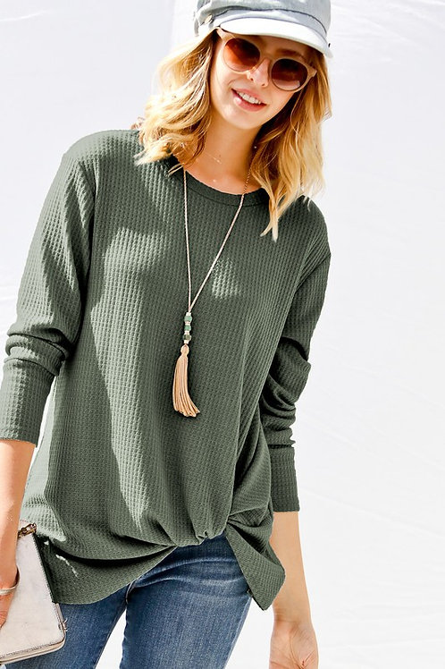 Olive Waffle Sweater w/ Tuck Knot