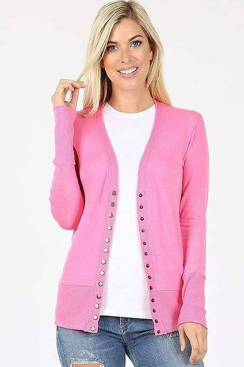 Pink Open Cardigan w/ Buttons