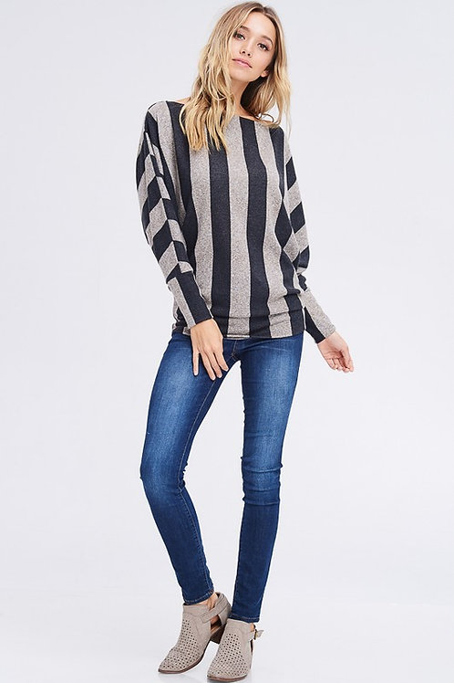 Taupe with Black Strip Sweater