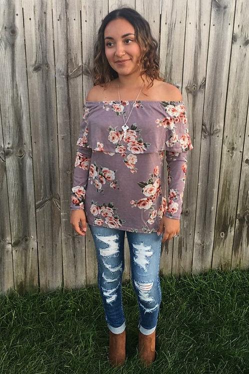Off the Shoulder Floral Shirt