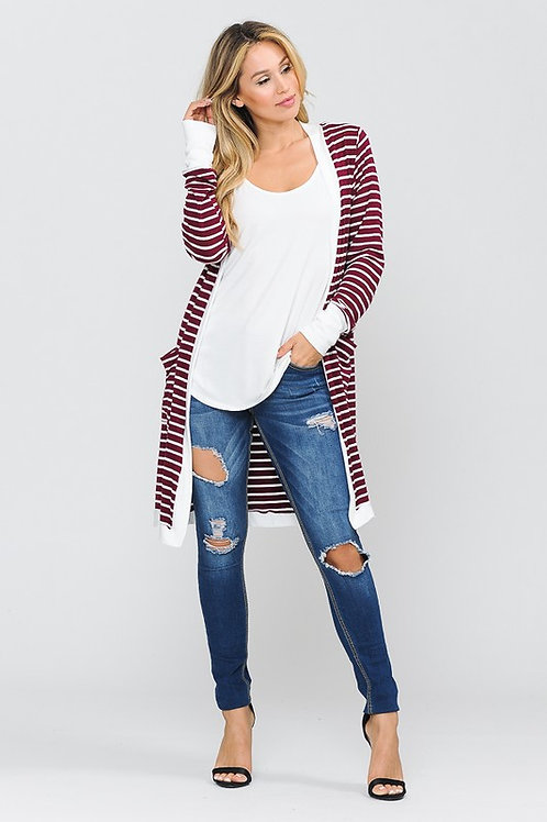 Burgundy & White Cardigan