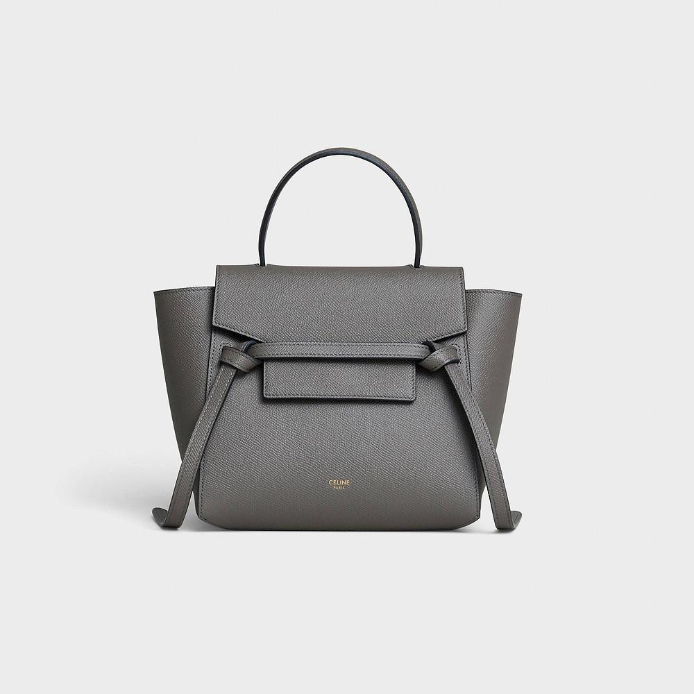 Nano Belt bag in grained calfskin - Grey - BELT BAG - 1 | CELINE