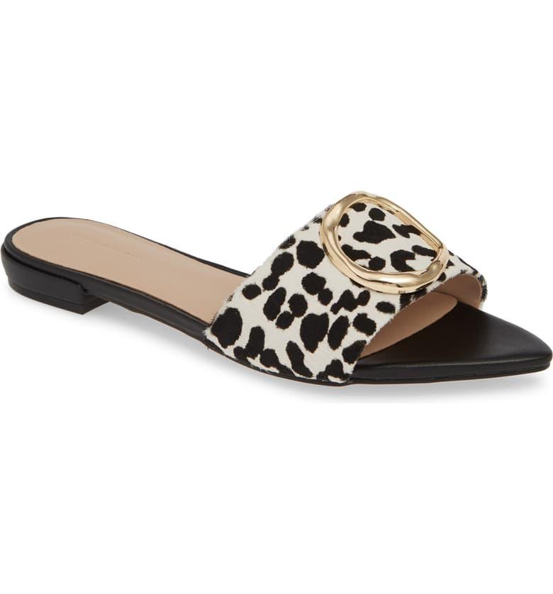 SOMETHING NAVY Cassie Genuine Calf Hair Slide Sandal, Main, color, BLACK WHITE LEOPARD PRINT