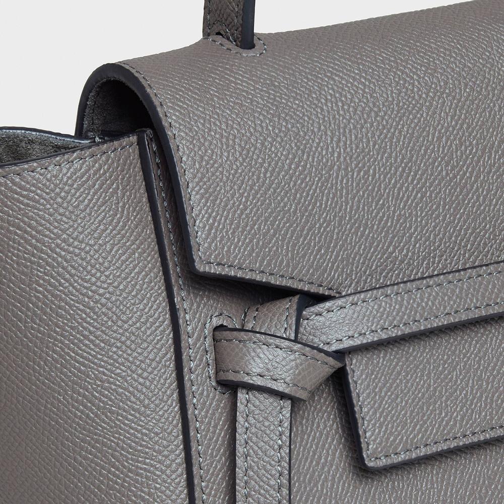 Nano Belt bag in grained calfskin - Grey - BELT BAG - 3 | CELINE