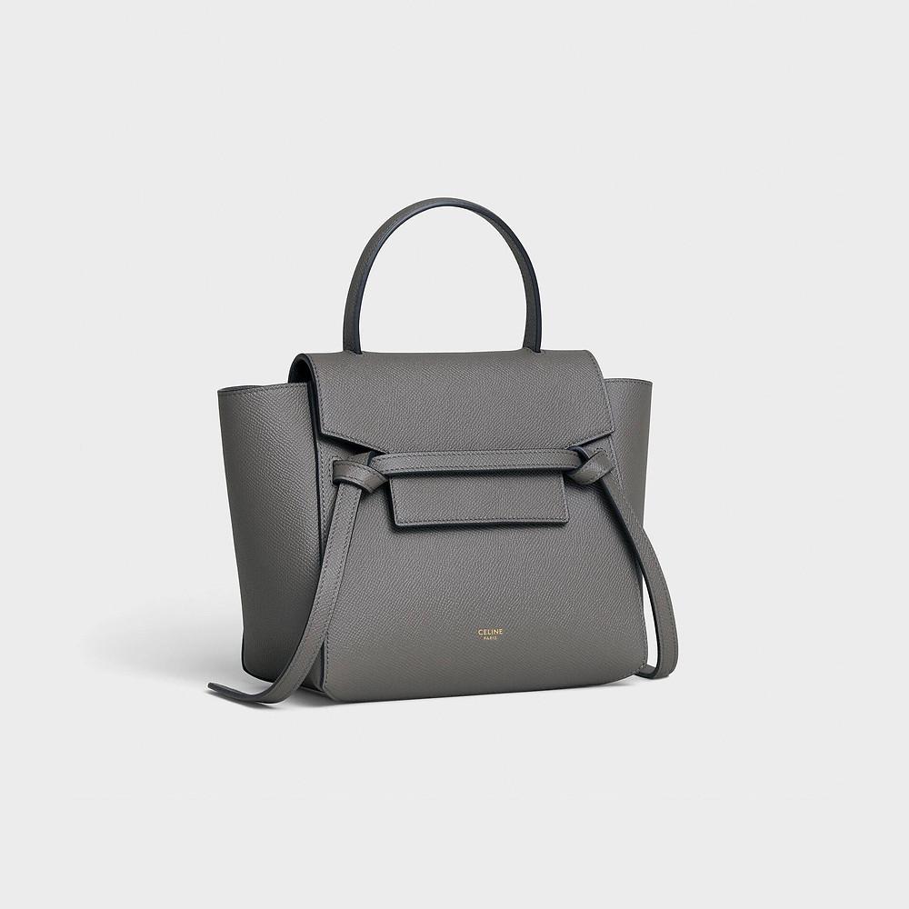 Nano Belt bag in grained calfskin - Grey - BELT BAG - 2 | CELINE