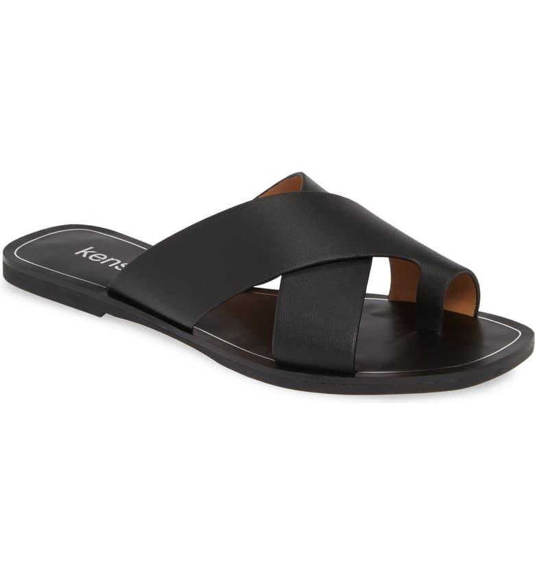 KENSIE Nola Slide Sandal, Main, color, BLACK LEATHER
