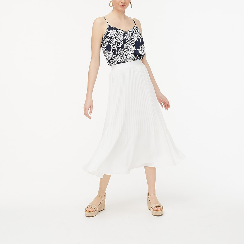 j.crew factory: elastic-waist pleated midi skirt for women, right side, view zoomed