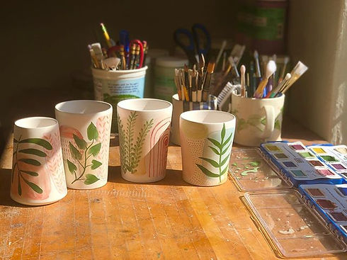Some new cups getting decorated. I'm hop