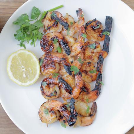 Mustketch glazed grilled shrimp
