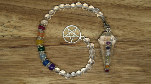 Chakras pendulum pendant bracelet energetic center gorgeously magical this seven stone pendulum pendant bracelet 7 spherical gemstones representing the 7 chakras to harness each gemstones power aloadofball Images