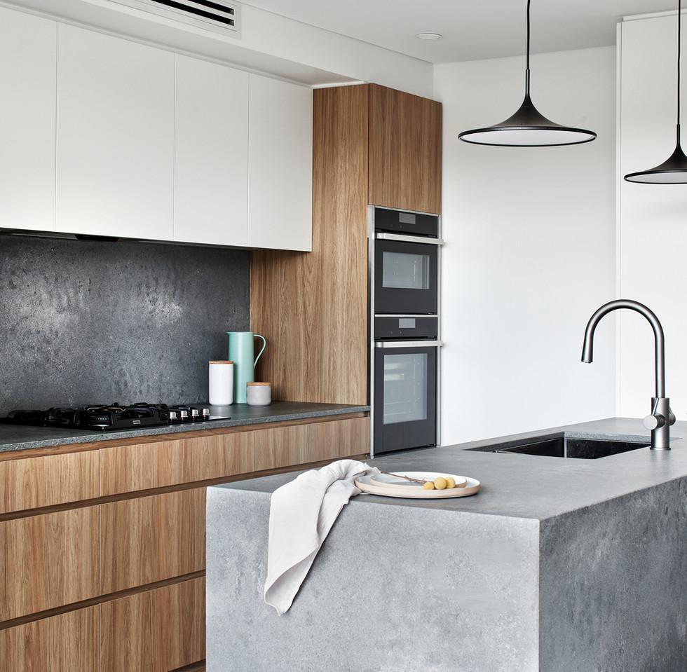 Urban luxe kitchen, modern terrace