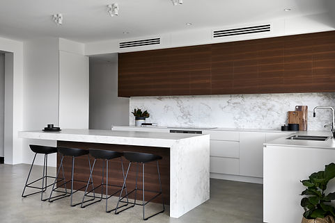 Modern kitchen, marble benches, timber cabinets, clean design, family kitchen
