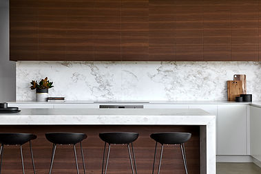 Marble Island and splash back, timber cabinets, kitchen stools
