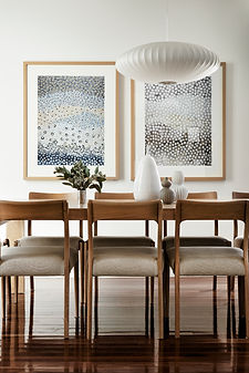 timber dining table, Zuster, Designer Boys prints