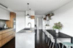 stone island, modern kitchen, compact living