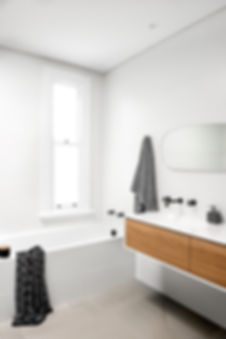 white bathroom, timber vanity