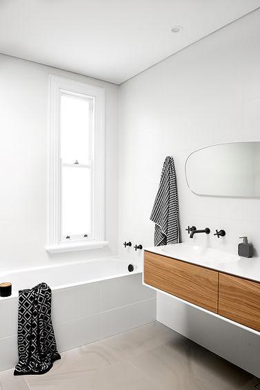 white bathroom, timber vanity