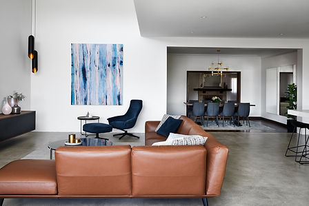 contemporary home, open living, lether sofa, occasional chair