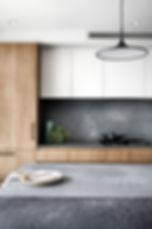 custom joinery, dark kitchen, Caesarstone benchtop