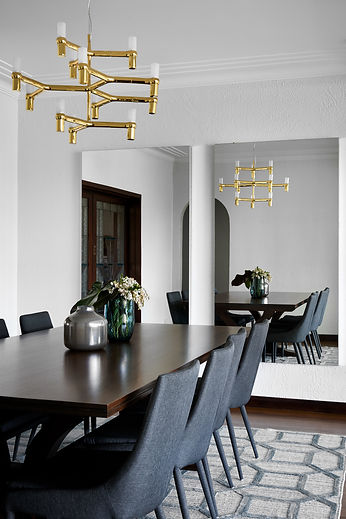 Contemporary dining room, wall mirrors, hanging pendant, modern dining chairs