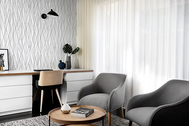 Multi purpose space, home office, wallpaper, contemporary styling, study