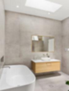 bathroom, contemporary, renovation, bath tub, timber vanity, tile