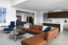 Modular leather sofa, open plan living, occasional chair