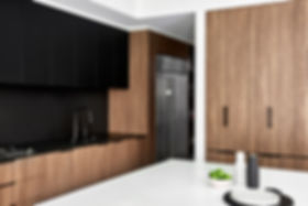Kitchen island, splashback, fridge
