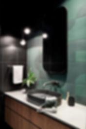 contemporary ensuite, dark finishes, concrete basin, geometric