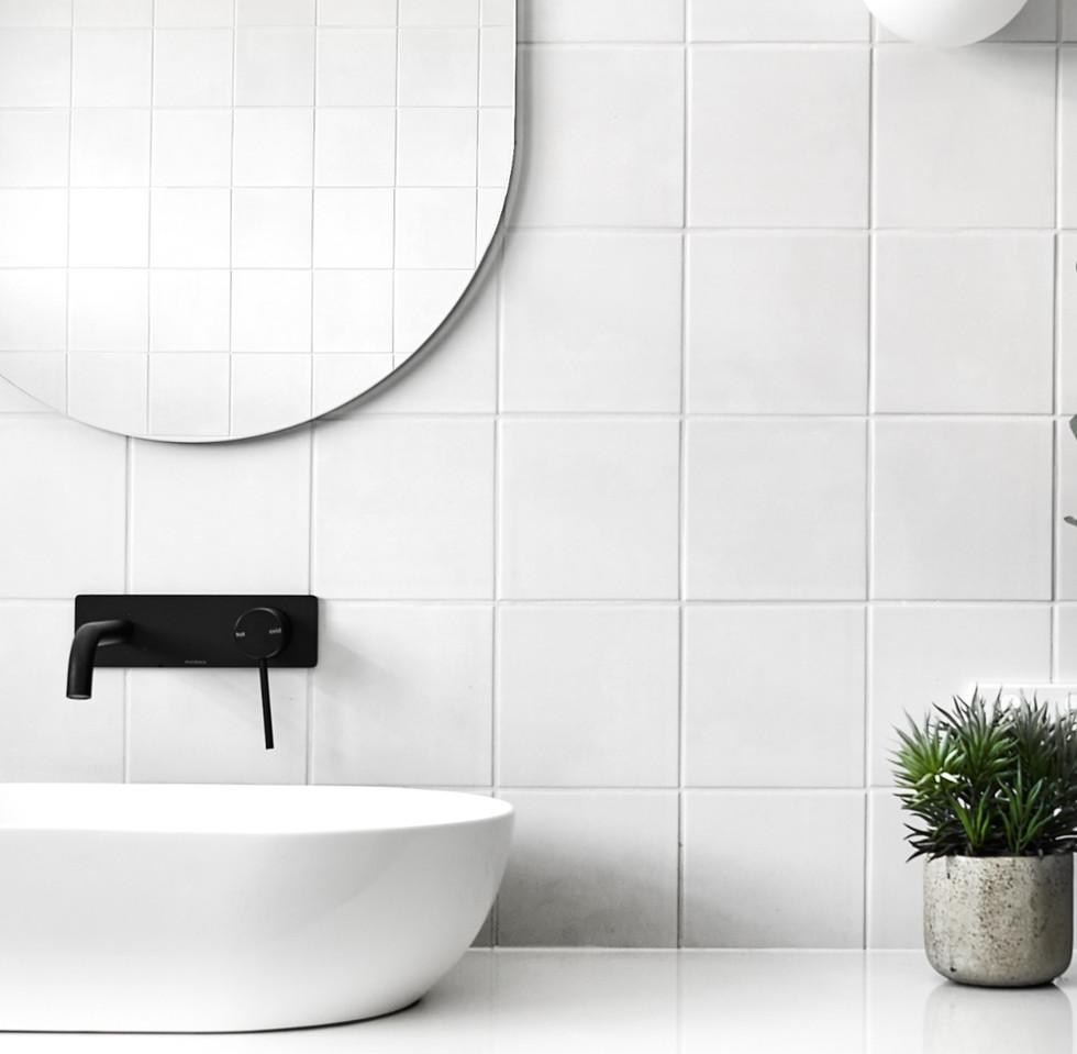 Vanity wall detail, modern bathroom
