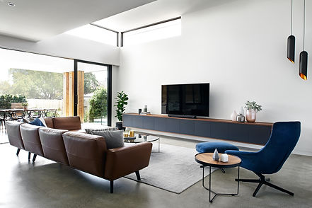 Contemporary living room with custom joinery