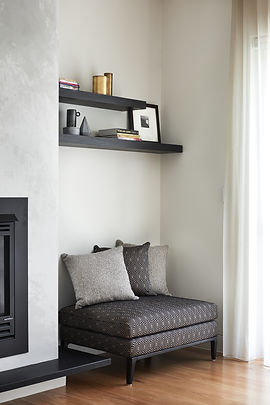 Ottoman and floating shelving