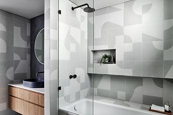 graphic bathroom, custom joinery, modern tiling, geometric