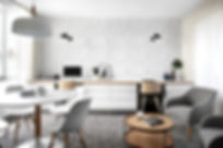 Contemporary home office, multi purpose space, wallpaper, modern desk chairs, custom joiner, modern styling, study