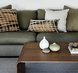 Coffee table, vignette, Linen and Moore cushions