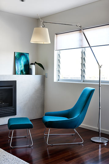 Knoll chair and ottoman with Tolomeo floor lamp