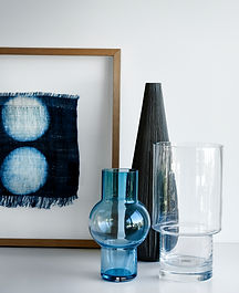 art work, fabric, navy, blue, glass, vases