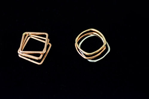 Square or Rounded Square Hammered Band Rings